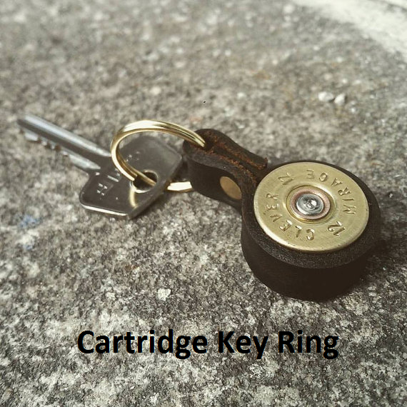 Cartridge & Leather Keyring - Jamie Boult Designs